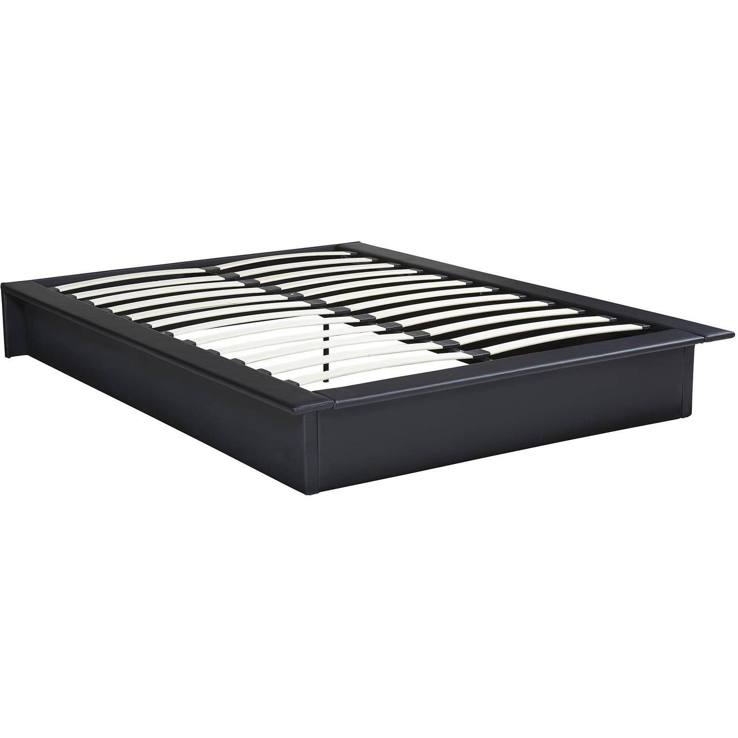 maven upholstered faux leather platform bed black multiple sizes walmartcom - Black Platform Bed Frame