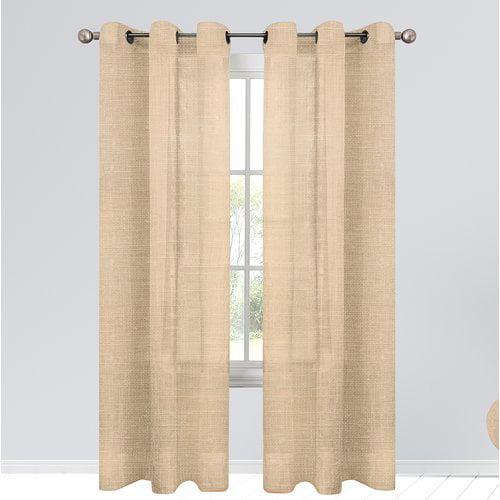 Alcott Hill Estrada Geometric Semi-Sheer Outdoor Grommet Curtain Panels (Set of 2)