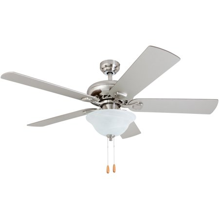 Maple Blade Set (Prominence Home 50754-35 Fischer Traditional 52-Inch Brushed Nickel Indoor Ceiling Fan, LED Bowl Light with Chilled Gray / Chocolate Maple Blades and 3 speed)
