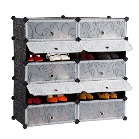 Modular Drawer Organizers (LANGRIA 10-Cube DIY Shoe Rack, Storage Drawer Unit Multi Use Modular Organizer Plastic Cabinet with Doors, Black and White Curly)