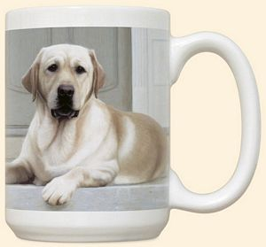 Yellow Lab On Porch Mug by Fiddler's Elbow - C11FE