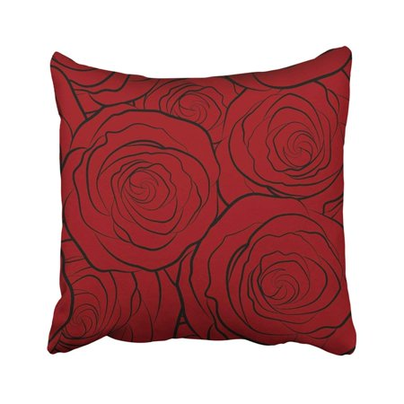 BPBOP Colorful Beautiful In Small Abstract Red Rose Flowers Monochrome Cute Simple Spring Bright Pillowcase Throw Pillow Cover Case 16x16 inches