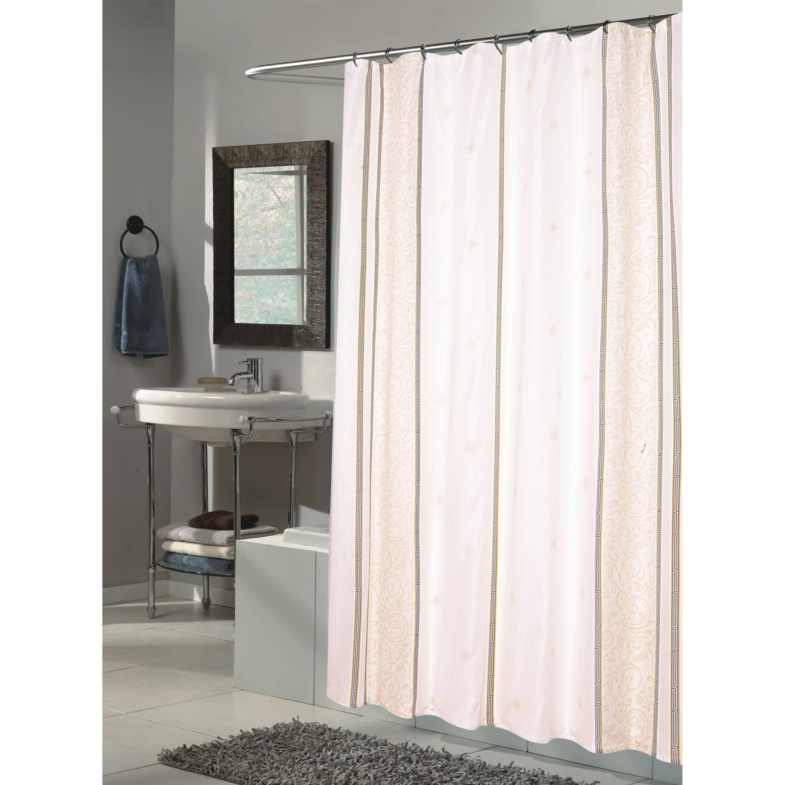 "Extra Long ""Ashley"" Fabric Shower Curtain"