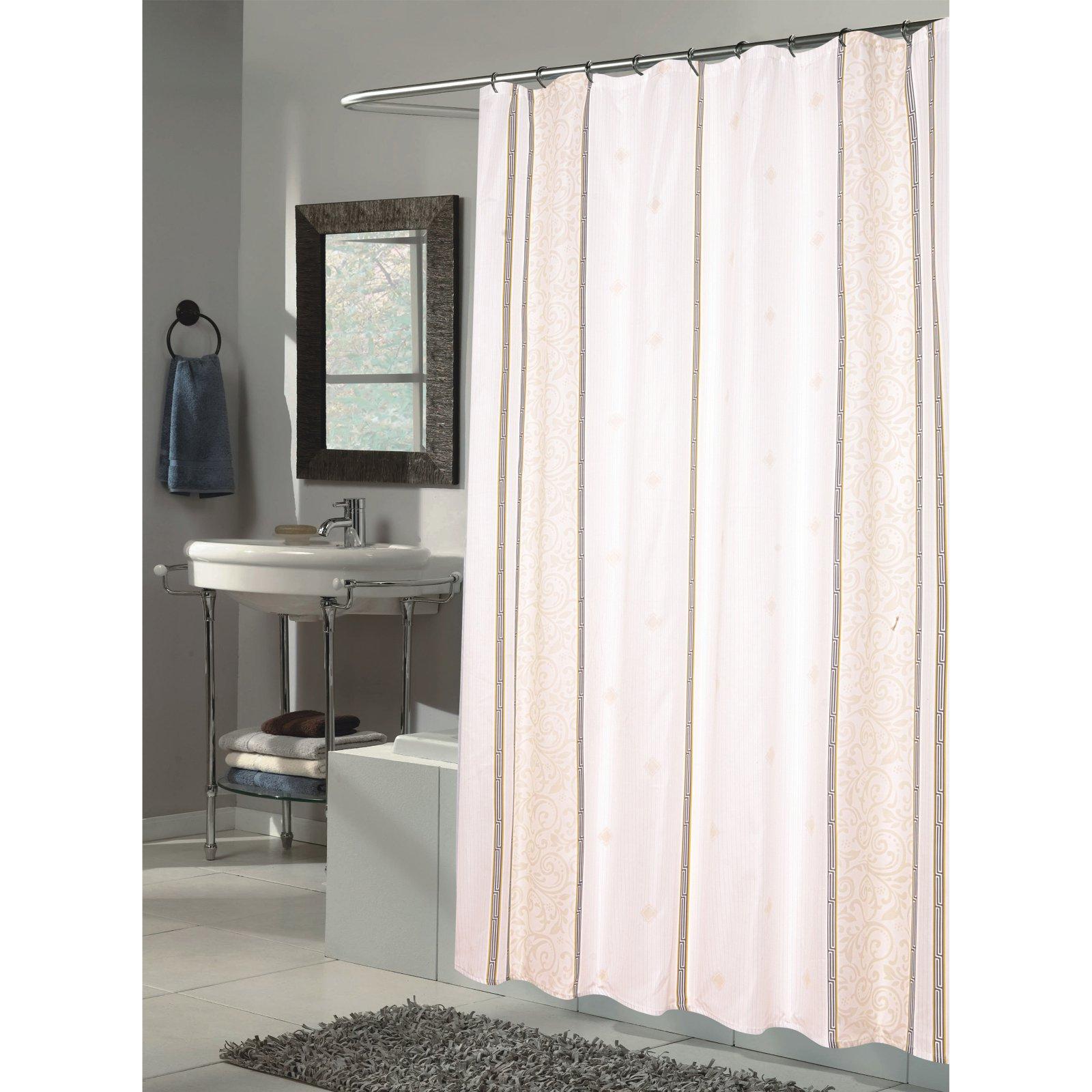 "Extra Long ""Ashley"" Fabric Shower Curtain"