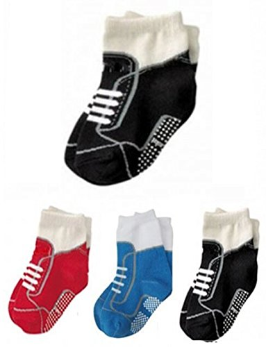 StylesILove Non Slip Shoes Print Cotton Socks for Baby Boy 3 Pairs (1-3 Years)