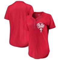 Women's New Era Red Philadelphia Phillies Henley Mesh Jersey T-Shirt