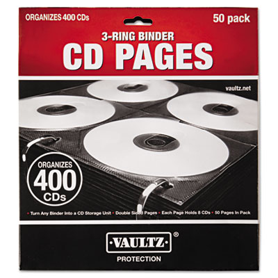 Two-Sided CD Refill Pages for Three-Ring Binder, 50/Pack, Sold as 1 Package, 50 Each per Package