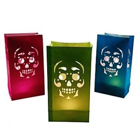Day Of The Dead Luminary Bags - 12ct - Halloween Luminary Bag Designs