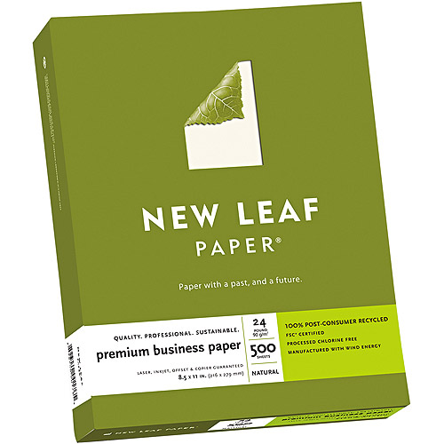 Southworth 6126024 New Leaf Premium Business Paper, 24 lbs. , 8. 5 x 11, Natural, 500 Sheets-Box