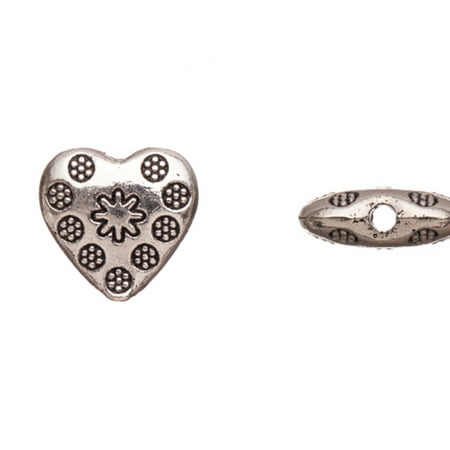 Pewter Beads, Burnished Silver Plated, Double-Sided Flower Patterned Puff Heart Sold per pkg of 10pcs per pack
