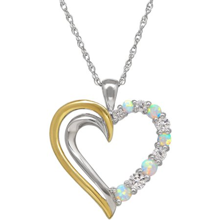 Diamond Open Heart Pendant - Created Opal with White Topaz Sterling Silver and 10kt Yellow Gold Open Heart Pendant, 18