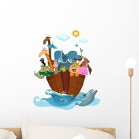 Noahs Ark Babys Nursery Wall Decal Mural by Wallmonkeys Vinyl Peel and Stick Graphic for Girls (18 in H x 15 in W)