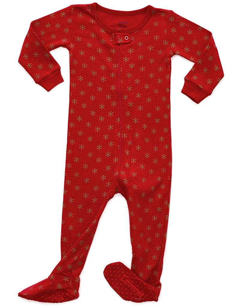 Leveret Snowflake Footed Pajama Sleeper 100% Cotton 3 Years