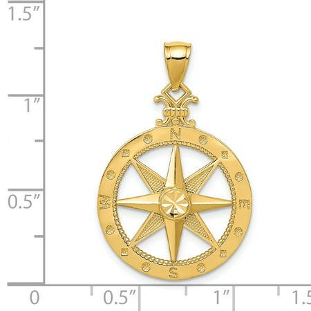 14k Yellow Gold Compass Pendant Charm