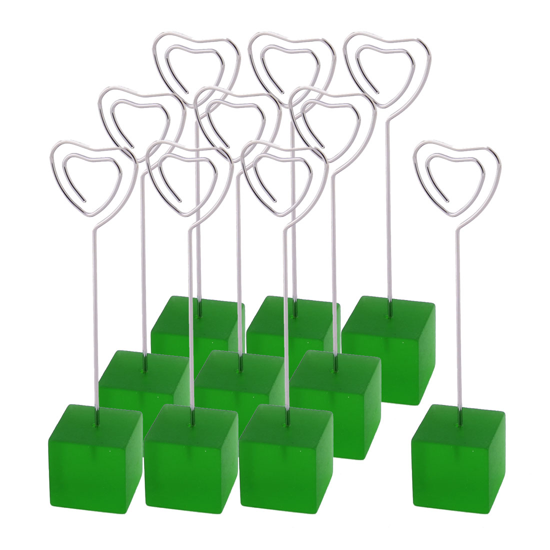 Wedding Resin Heart Shaped Table Decoration Photo Picture Memo Clip Green 10 Pcs