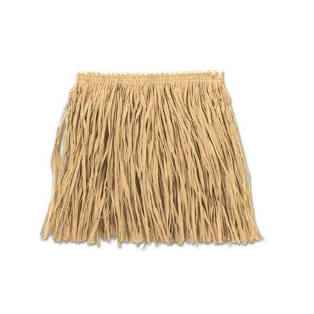 Club Pack of 12 Natural Raffia Child Mini Hula Skirt 12