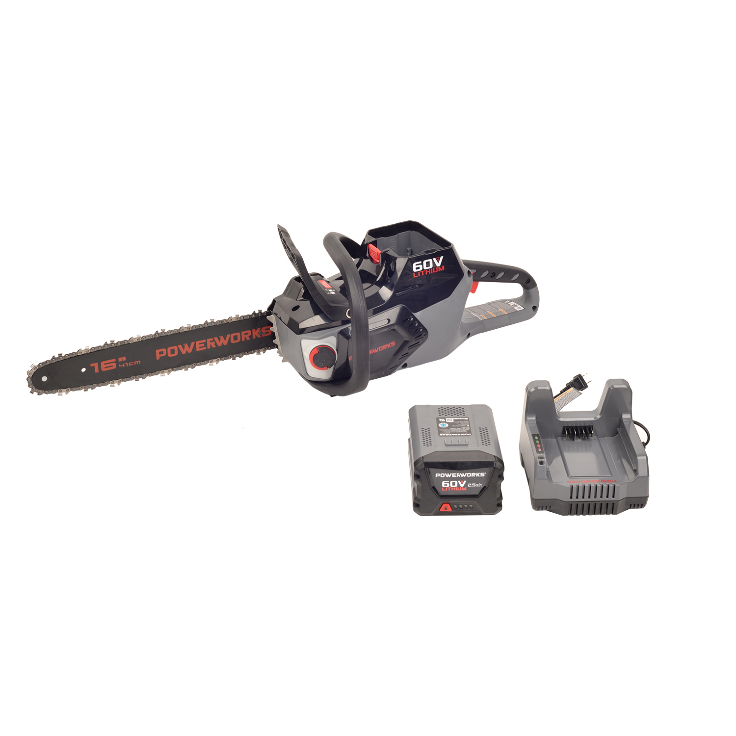 Powerworks 60V Brushless 16-inch Chainsaw, 2.5Ah Battery and Charger Included, 2001413 by Sunrise Global Marketing, LLC