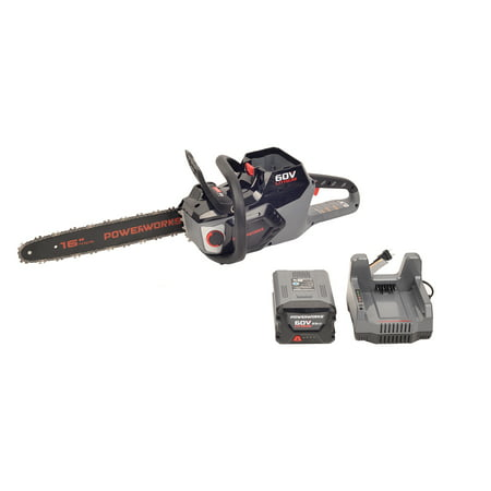 Powerworks 60V Brushless 16-inch Chainsaw, 2.5Ah Battery and Charger Included, 2001413