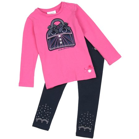 Le Chic Baby Girl's T-shirt with Purse and Leggings, Sizes 12-24M - 18M/86 - image 1 of 1