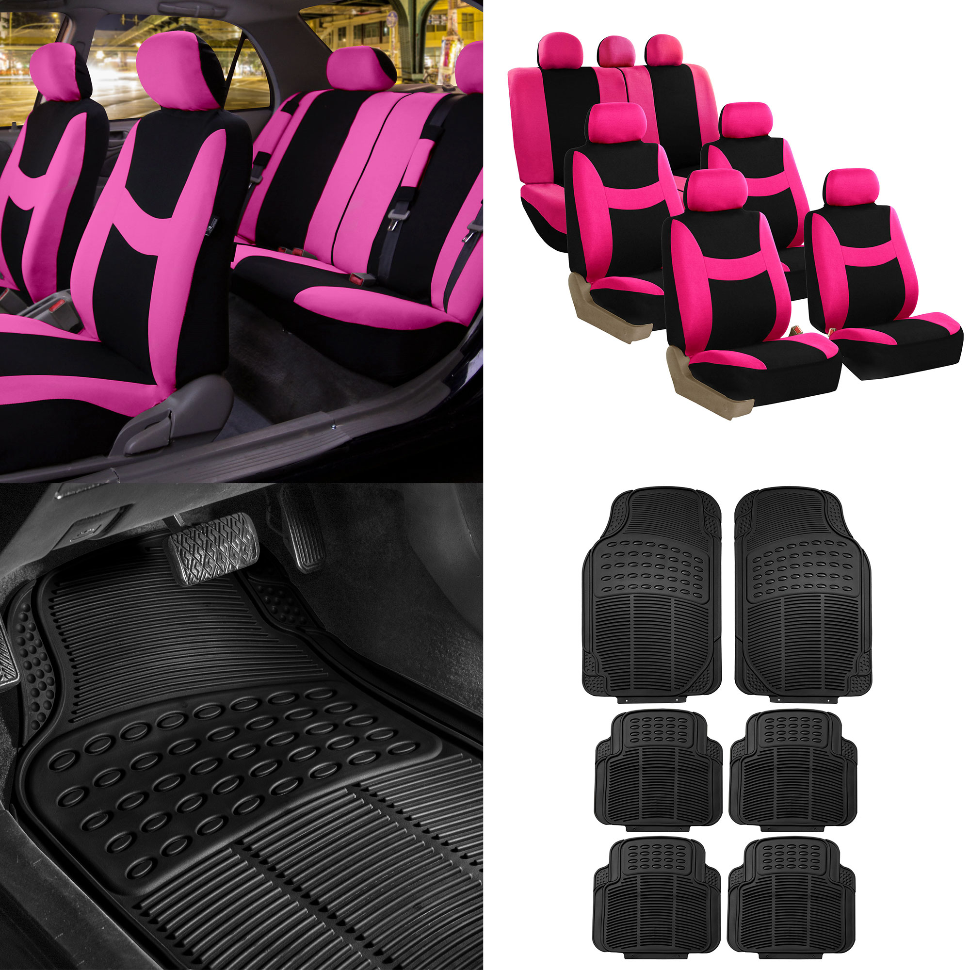 FH Group, 7 Seaters 3 Row Pink Black Seat Covers for SUV Van Combo with Black Floor Mats