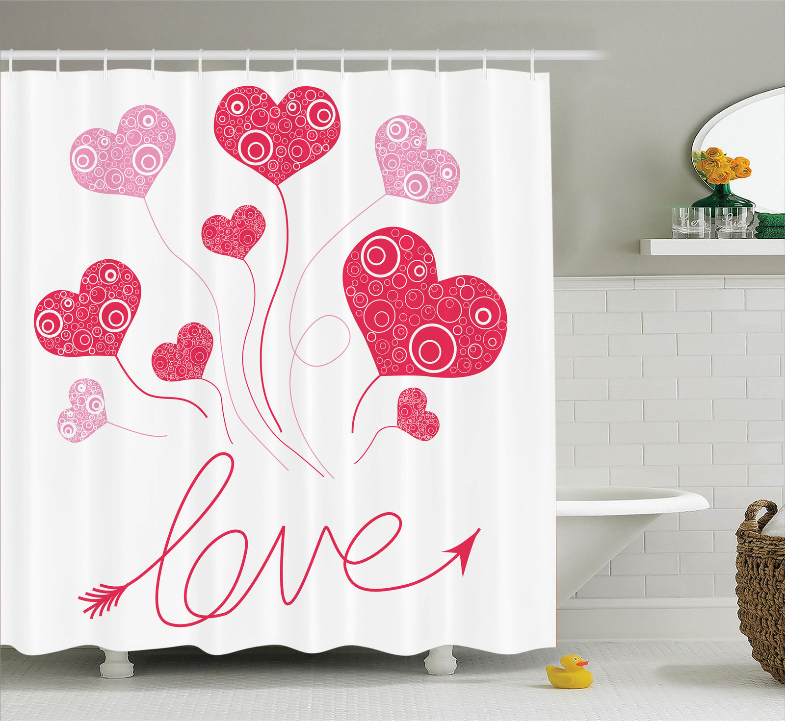 Love Decor Shower Curtain Set, Love Heart Shaped Balloons Party Entertainment Happiness Glossy Retro, Bathroom Accessories, 69W X 70L Inches, By Ambesonne