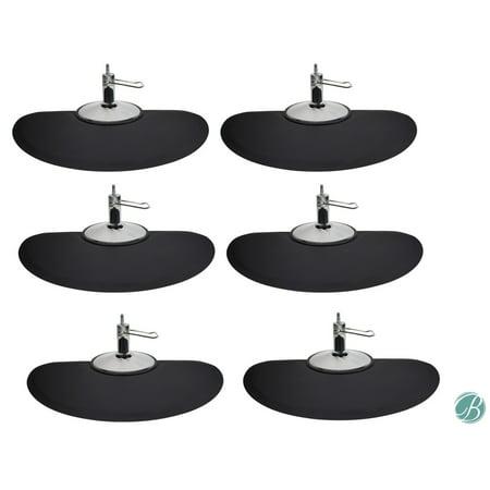 Berkeley Semi Circle Salon Mat 3' x 5' (Set of 6) BLACK Anti-fatigue Mat for Salon or Barber (Pappy's Berkeley Halloween)