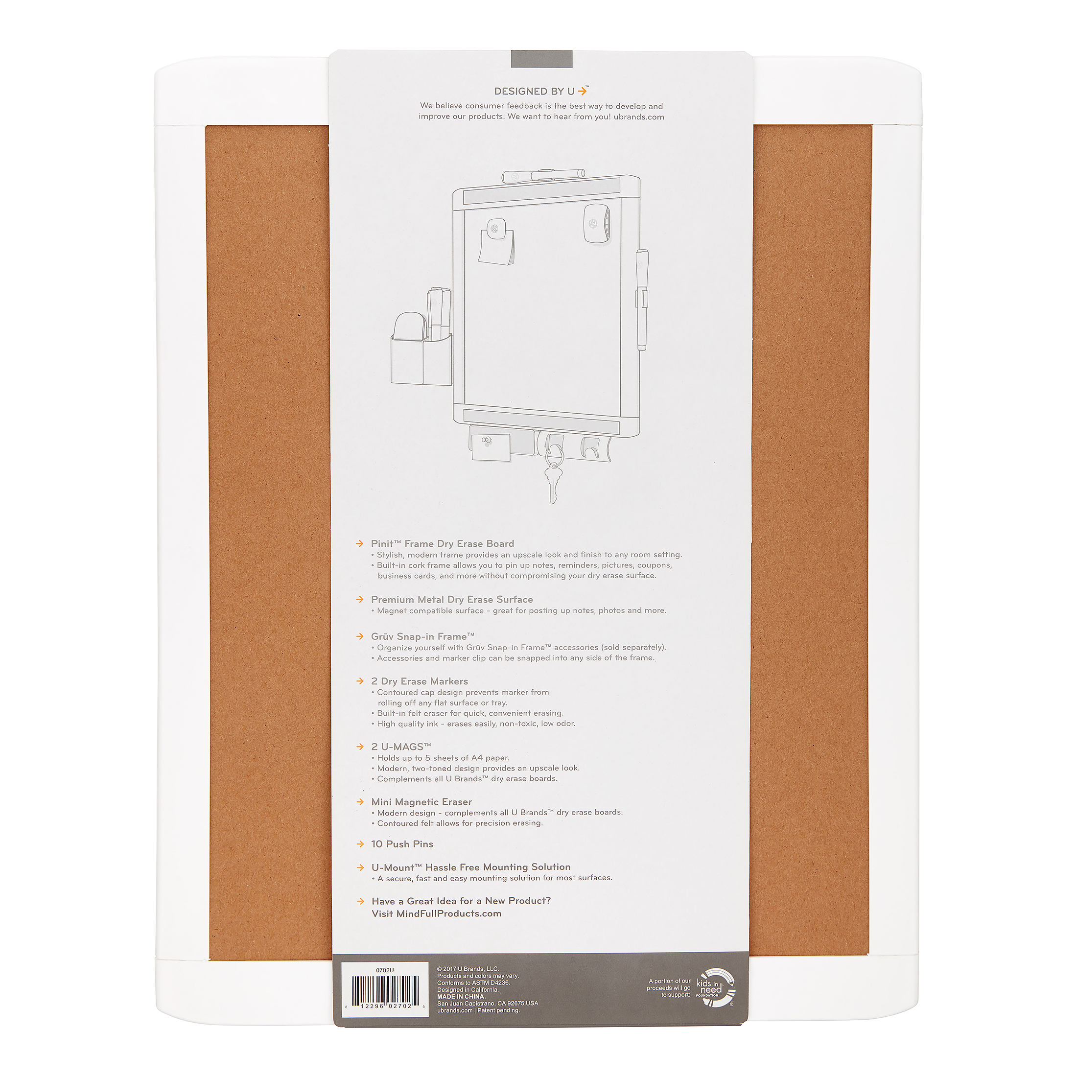 U Brands PinIt Frame 11x14-inch Magnetic Dry Erase Board Value Pack ...
