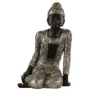 Resin Sitting Buddha in Silver