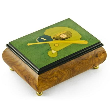 (Sports Theme Wood Inlay: Baseball- Collectible18 Note Musical Jewelry Box)