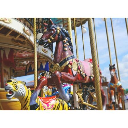 Canvas Print Ride Fun Fair Year Market Children Carousel Horse Stretched Canvas 10 x 14](Carousel Horses For Sale)