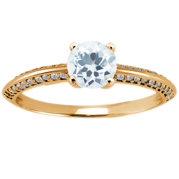 1.03 Ct Round Sky Blue Aquamarine 14K Yellow Gold Ring