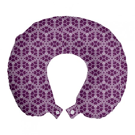 Retro Travel Pillow Neck Rest, Abstract Design Crossing Lines Tile Like Motif Trellis Pattern Mosaic Art, Memory Foam Traveling Accessory Airplane and Car, 12 , Purple Pale Lavender, by Ambesonne Ambesonne Travel Pillow Neck Rest STANDARD SIZE - 12  Wide x 12  Long. U shape head support. Rest pillow with durable printed cover. MADE FROM - Soft & moldable viscoelastic memory foam. Sturdy and soft 100% polyester fabric cover. FEATURES - Breathable. Removable cover has a zipper closure. Easy to attach with snap fasteners. PORTABLE - Comfortable on a plane, bus, car, train or at home while watching TV, reading a book, napping. PRINTED - With state of the art digital printing technology. Long-lasting bold colors & clear image. Feel like at home even on the go! Feel the comfort and softness with this smart design memory foam travel pillow. Choose between thousands of different patterns for a more personalized look. This printed cover is machine washable so; you can have a fresh and clean pillow every journey. It can be quickly taken off and put on with zipper closure. Its comfortable and breathable. Use it in the car, plane, train or bus. Itll be your best traveling partner. With its snap fasteners, you can easily attach it to your luggage or backpack without taking much space. Besides traveling you can use it at home or office. Even a simple nap will be better with this relaxing head support. Dont miss the style while seeking for comfort. This pillow will give you both, surely. Catch the comfortable travel and lounging experiences with this versatile travel gear. The digital images we display have the most accurate color possible but due to differences in pc monitors, we cant be responsible for variations in color between the actual product and your screen.