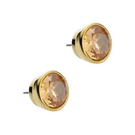 Earrings Gold Tone 0.5' Bezel Set Cubic Zirconia Stud Earrings