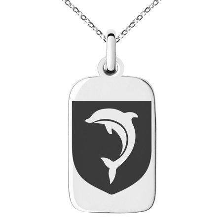 Stainless Steel Dolphin Diligence Coat of Arms Shield Engraved Small Rectangle Dog Tag Charm Pendant Necklace