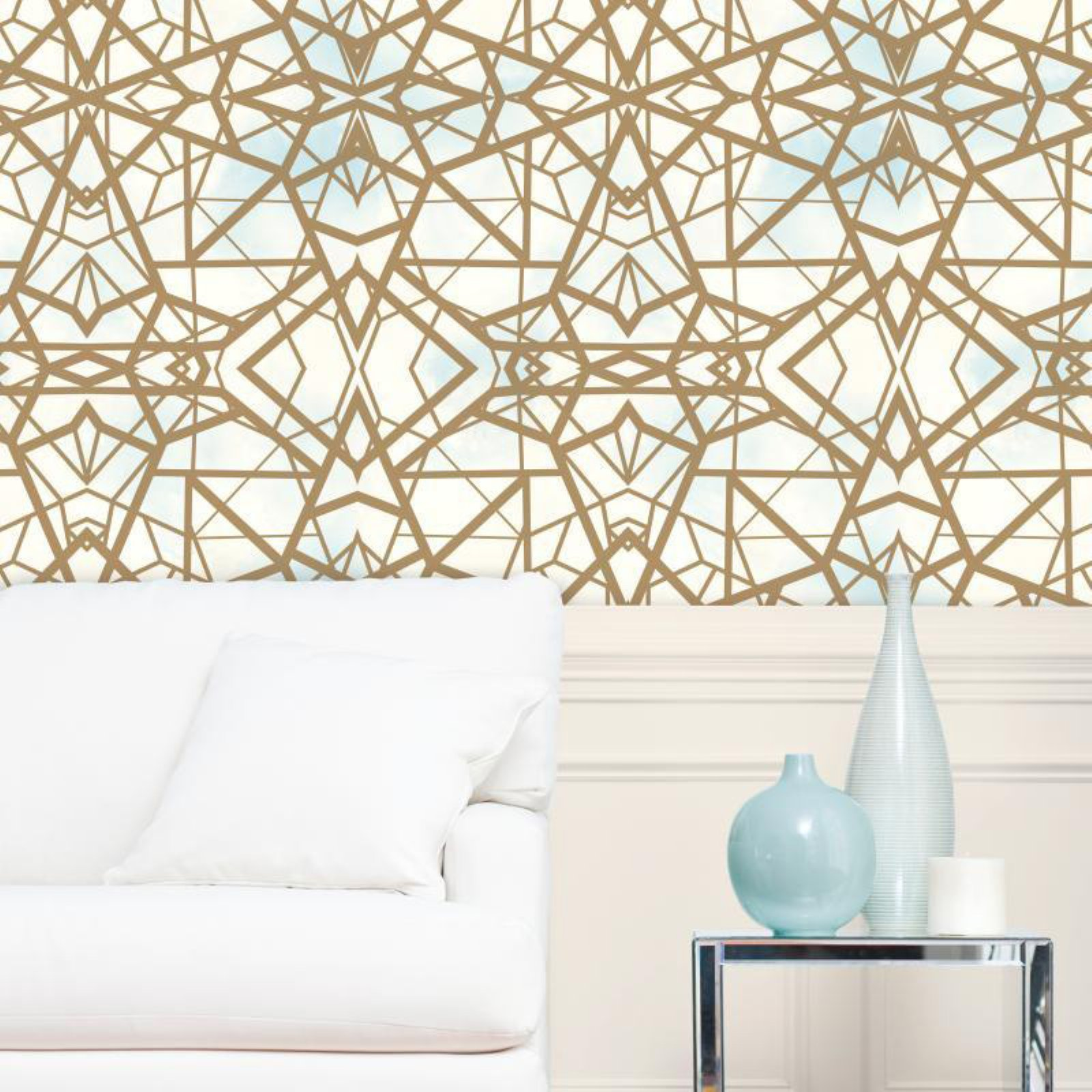 RoomMates Shatter Geometric Blue/White Peel & Stick Wallpaper