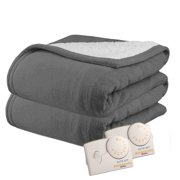 Pure Warmth MicroPlush Sherpa Analog Electric Heated Blanket