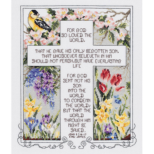 """John 3:16-17 Counted Cross Stitch Kit-10-1/4""""X12-1/4"""" 14 Count"""