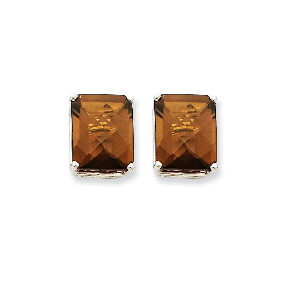 14k White Gold 12x10mm Emerald Smokey Quartz Earrings. Gem Wt- 10.9ct (0.5IN x 0.3IN )