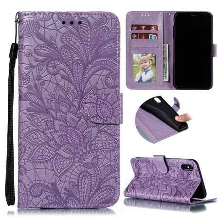 iPhone XR Wallet Case, Dteck Embossed Lace Flower Premium PU Leather Flip Fold Wallet Case [Card Holder] [Kickstand Feature] Magnetic Protective Cover For Apple iPhone XR 6.1 inch, Purple ()