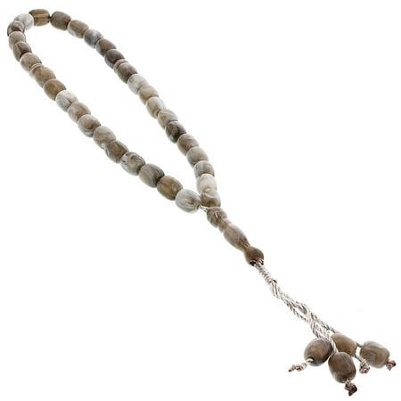 Hijaz 33 Count White Marble Design Islamic Rosary Prayer Bead Tasbih ()