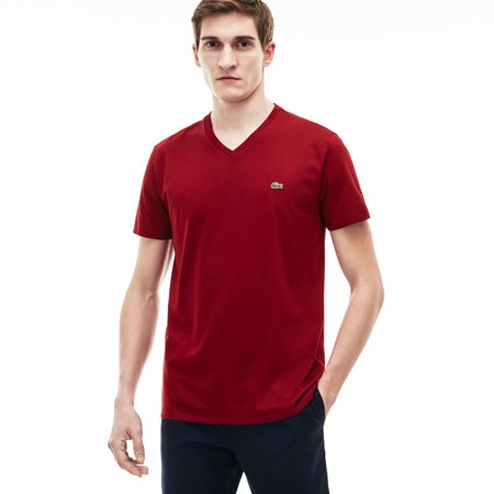 Men's V-neck Pima Cotton Jersey T-shirt Bordeaux Medium