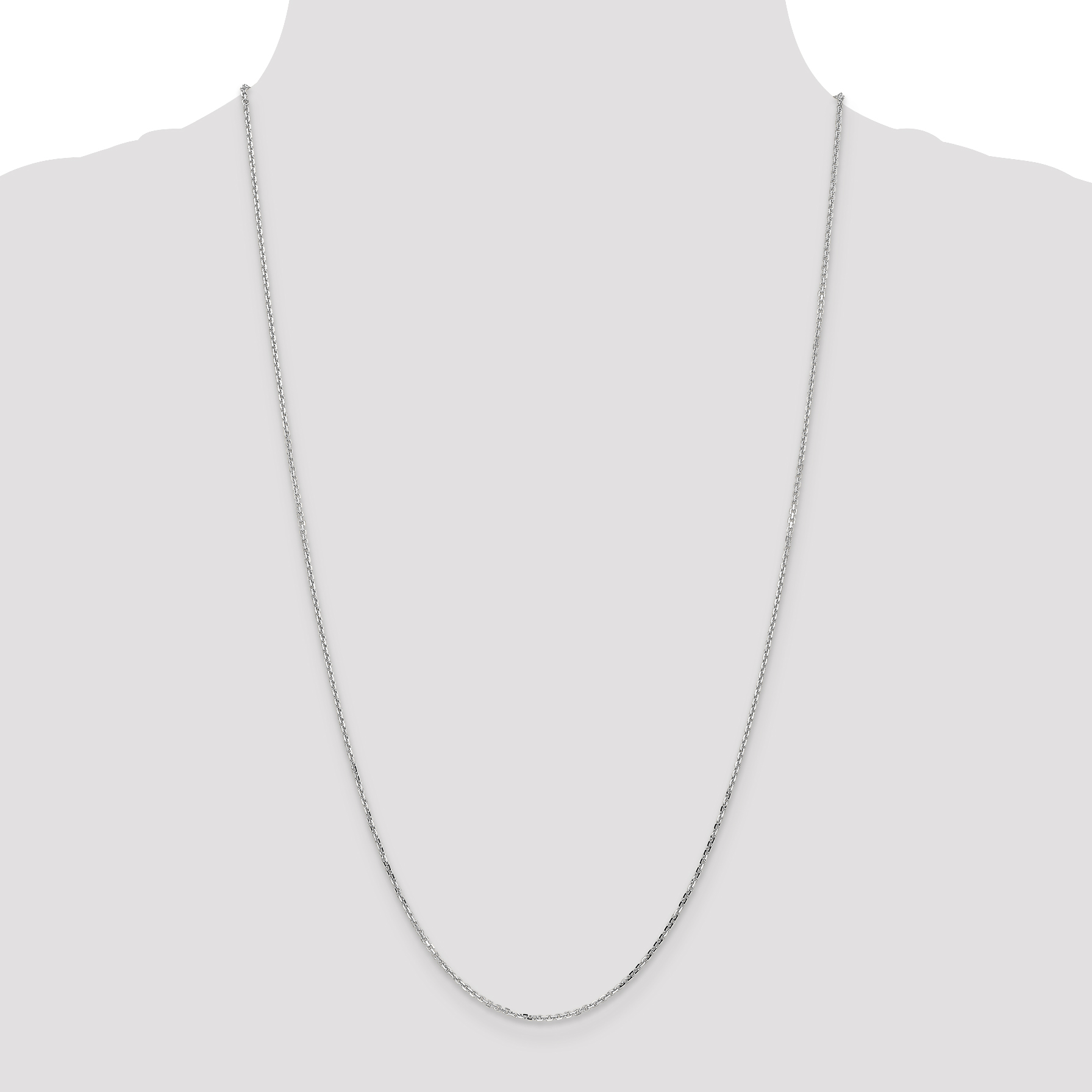 14K White Gold 1.40mm Diamond Cut Cable Chain 16 Inch - image 3 de 5