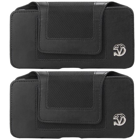 2-PACK: Professional Vegan Leather Horizontal Smartphone Holster Case (Black) with Belt Clip & Loop fits Smartphones up to 6.7-inch iPhone XS Max / XR / 8+ Galaxy Note 9 / 8 S10 5G / S10+ / S10 / S9+