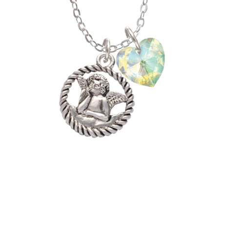 "Raphael Angel in Rope Wreath  - Clear AB Crystal Heart Sophia Necklace, 18""+1"""