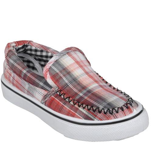 brinley co topstitched plaid slip on shoes walmart