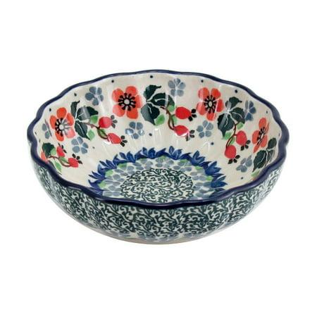 (Polish Pottery 4.5'' Fluted Dessert Dish Handmade Boleslawiec Stoneware Pattern  Peach Blooms)