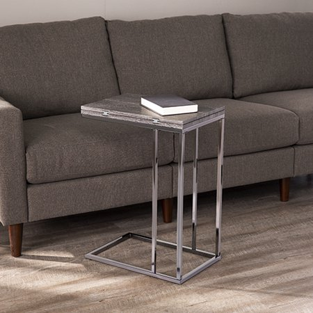 Elsinora Modern Expandable C-Table, Graywash Finish