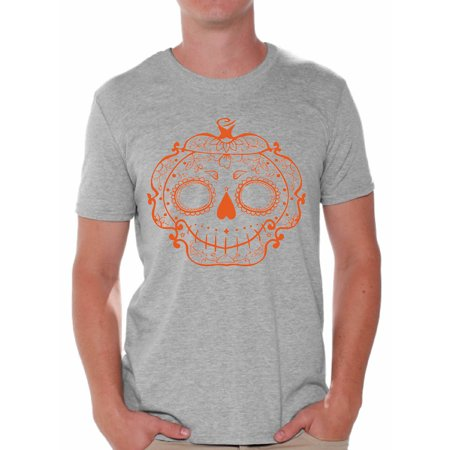 Awkward Styles Halloween Sugar Pumpkin Tshirt for Men Sugar Skull Shirt Halloween Shirts for Men Funny Gifts for Halloween Men's Halloween Shirt Holiday Gifts for Him Day of the Dead Men's Tshirt