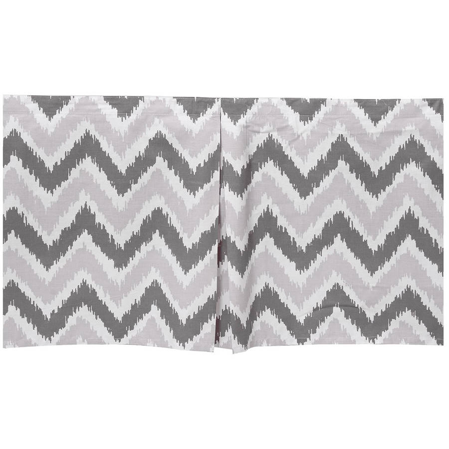 Bacati - MixNMatch Zigzag Tailored with 100% Cotton Percale 13 inch drop Crib/Toddler Dust Ruffle, Grey