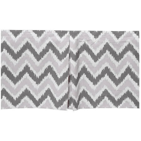 Bacati   Mixnmatch Zigzag Tailored With 100  Cotton Percale 13 Inch Drop Crib Toddler Dust Ruffle  Grey